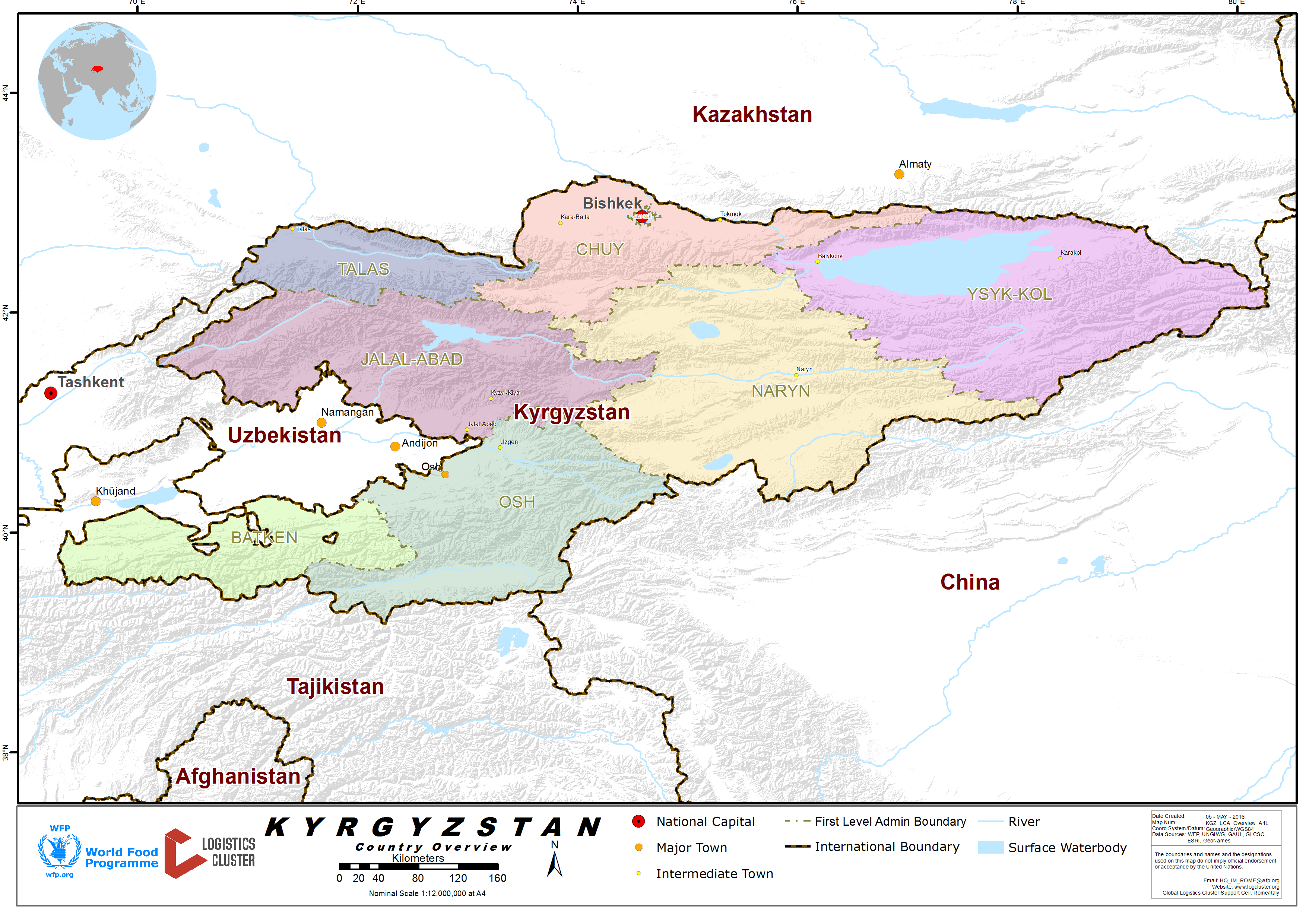1 kyrgyzstan country profile logistics capacity assessment kyrgyzstan country map gumiabroncs Choice Image