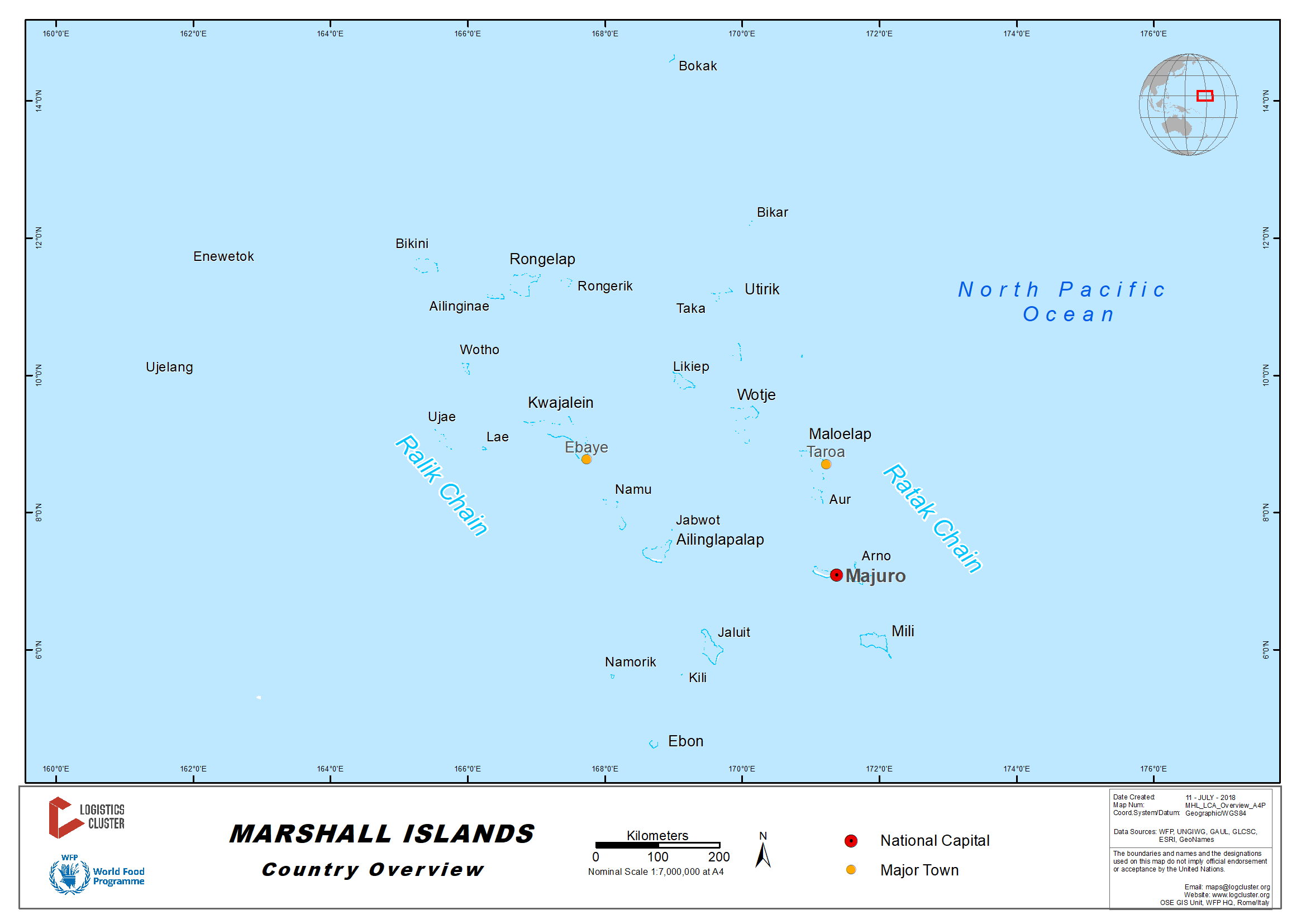 Marshall Islands Country Map