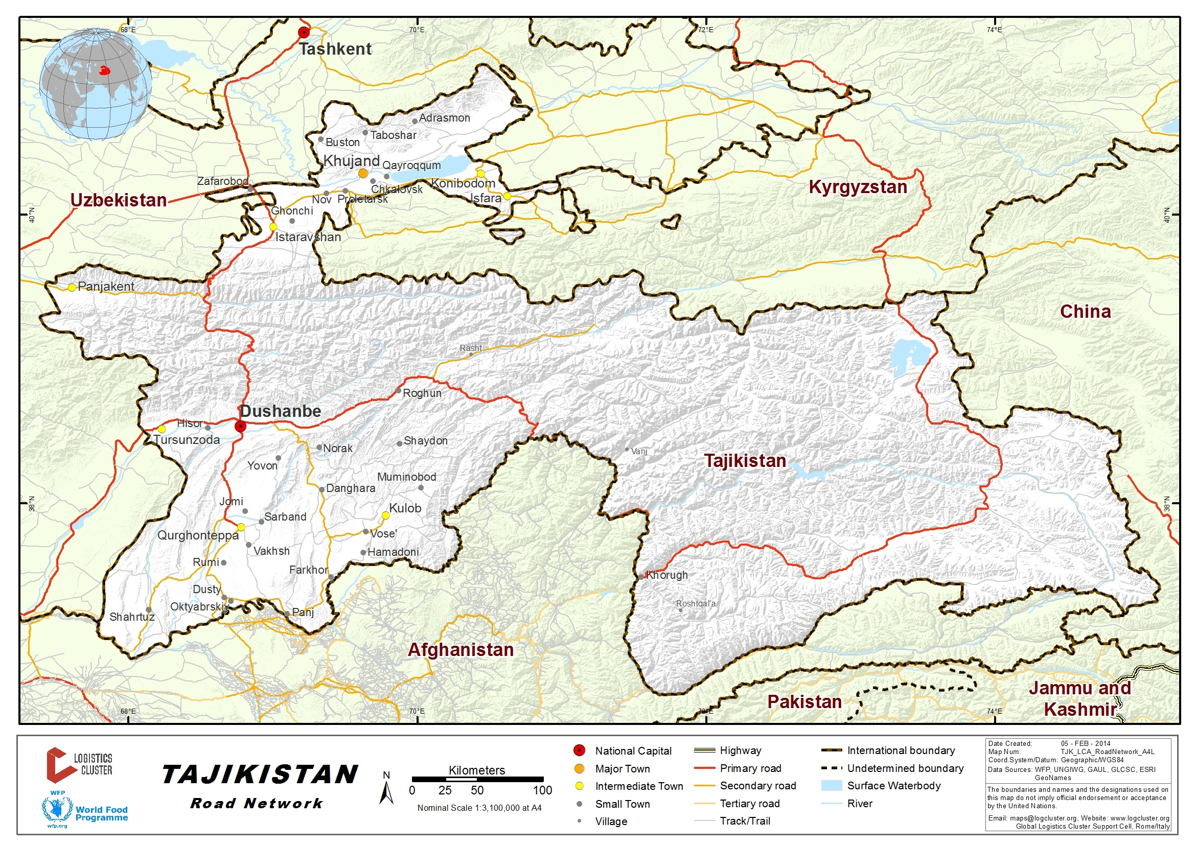 Tajikistan Road Network Logistics Capacity Assessment - Dushanbe map