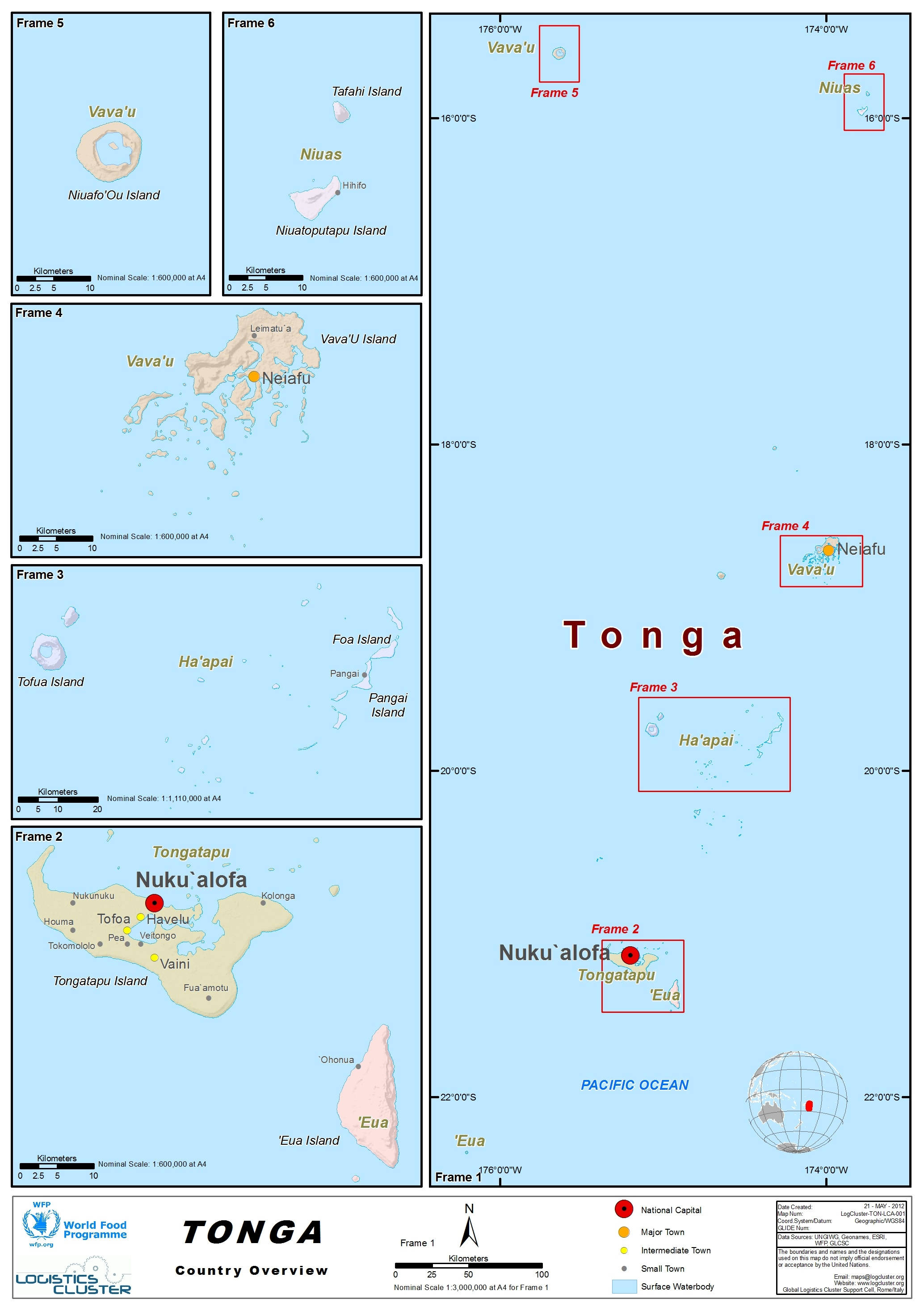 Tonga Country Map
