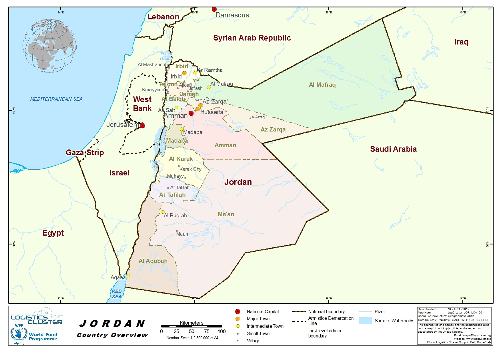 Jordan Country Map. ""