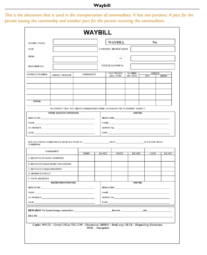 standard shipping note template - warehousing and inventory management logistics