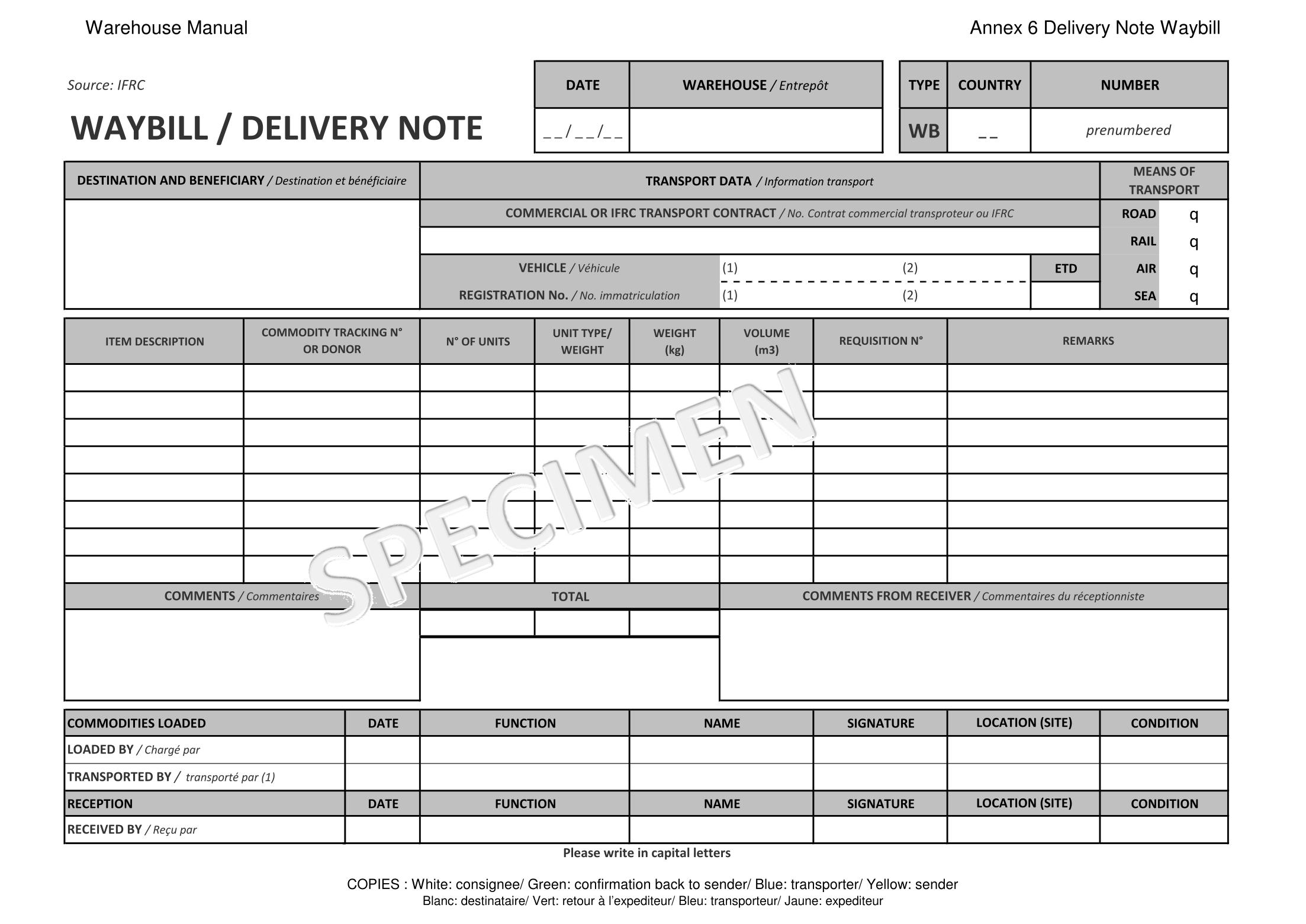 Doc600812 Dispatch Note Template Delivery Note Template for – Delivery Note Template